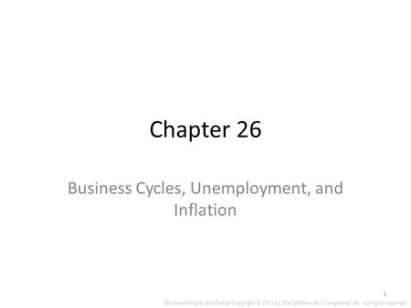 Chapter 26 Business Cycles, Unemployment, and Inflation Textbook Graphs and Tables Copyright © 2012 by The McGraw-Hill Companies, Inc. All rights reserved.