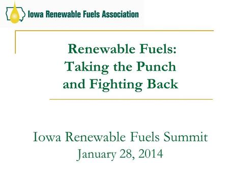Renewable Fuels: Taking the Punch and Fighting Back Iowa Renewable Fuels Summit January 28, 2014.