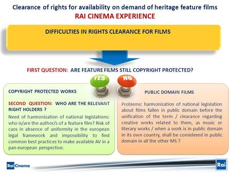 Clearance of rights for availability on demand of heritage feature films RAI CINEMA EXPERIENCE DIFFICULTIES IN RIGHTS CLEARANCE FOR FILMS PUBLIC DOMAIN.