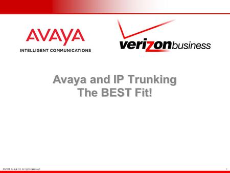 © 2008 Avaya Inc. All rights reserved. 1 Avaya and IP Trunking The BEST Fit!