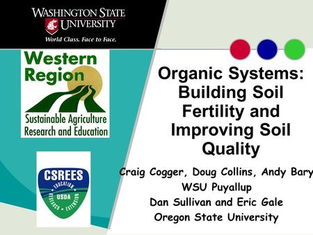 Organic Systems: Building Soil Fertility and Improving Soil Quality Craig Cogger, Doug Collins, Andy Bary WSU Puyallup Dan Sullivan and Eric Gale Oregon.