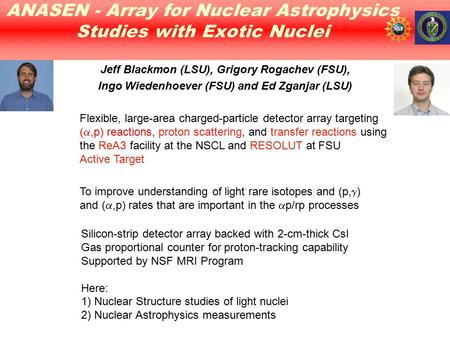 ANASEN - Array for Nuclear Astrophysics Studies with Exotic Nuclei Silicon-strip detector array backed with 2-cm-thick CsI Gas proportional counter for.