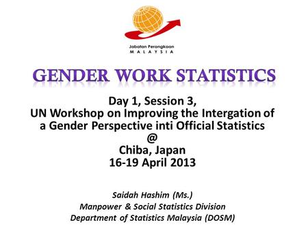 Day 1, Session 3, UN Workshop on Improving the Intergation of a Gender Perspective inti Official Chiba, Japan 16-19 April 2013 Saidah Hashim.