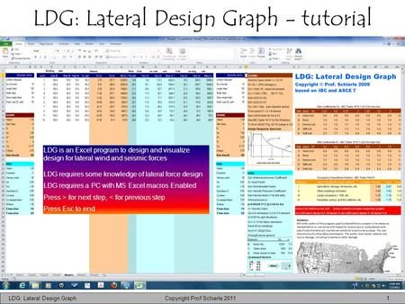 LDG: Lateral Design Graph - tutorial LDG: Lateral Design Graph Copyright Prof Schierle 2011 1 LDG is an Excel program to design and visualize design for.