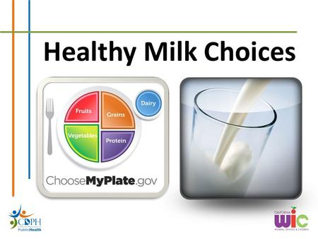 Healthy Milk Choices. What type of milk does your family drink?
