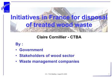 CC – TAG Meeting – August 18, 2005 1 Initiatives in France for disposal of treated wood waste Claire Cornillier - CTBA By : Government Stakeholders of.