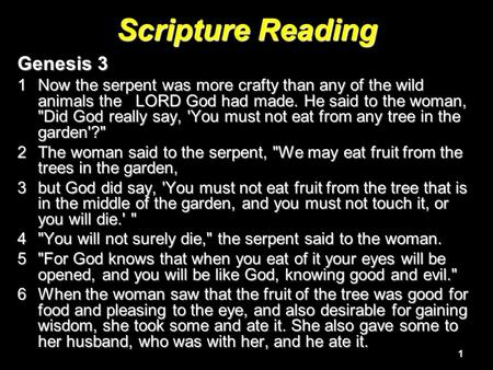 1 Scripture Reading Genesis 3 1Now the serpent was more crafty than any of the wild animals the LORD God had made. He said to the woman, Did God really.