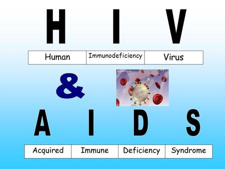 Human Immunodeficiency Virus AcquiredImmuneDeficiencySyndrome.