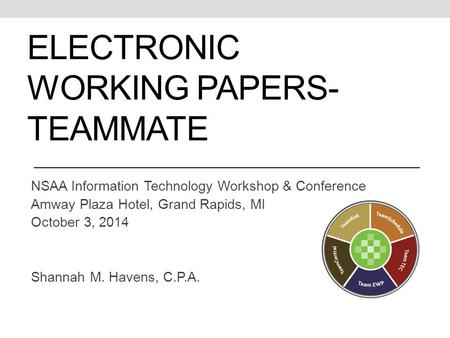 ELECTRONIC WORKING PAPERS- TEAMMATE NSAA Information Technology Workshop & Conference Amway Plaza Hotel, Grand Rapids, MI October 3, 2014 Shannah M. Havens,