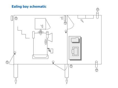 Ealing bay schematic.  Door lock, chock or tie-down  Light switch – dual for white & red lights  Power switch  Circuit breaker  Telescope drive clutch.