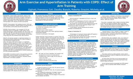 Arm Exercise and Hyperinflation in Patients with COPD: Effect of Arm Training BACKGROUND: Unlike studies on leg exercise, reports on the regulation of.