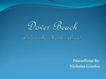 dover beach theme imagery and sound essay