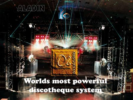 "Worlds most powerful discotheque system. alpha X - 1 hornloaded active 3-way 2 x 15"" EV DL15X 1 x 2"" DH 6-8/2 HP940 or HP640 2 x HFT 2508 800 / 600 /"