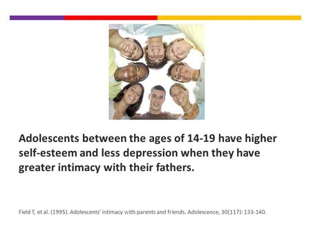 Adolescents between the ages of 14-19 have higher self-esteem and less depression when they have greater intimacy with their fathers. Field T, et al. (1995).