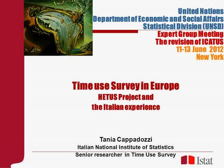 Time use Survey in Europe HETUS Project and the Italian experience Tania Cappadozzi Italian National Institute of Statistics Senior researcher in Time.