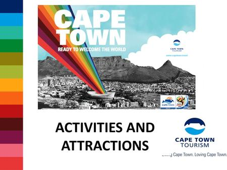 ACTIVITIES AND ATTRACTIONS. Some facts about 2010 Record 204 countries participating 350 000+ visitors expected in SA 4 out of 5 visitors indicate they.