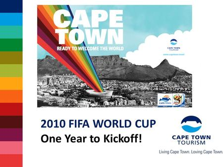 2010 FIFA WORLD CUP One Year to Kickoff!. Some facts about 2010 Record 204 countries participating 350 000+ visitors expected in SA 4 out of 5 visitors.