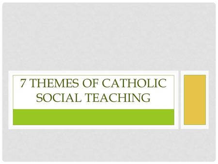7 Themes of Catholic Social teaching