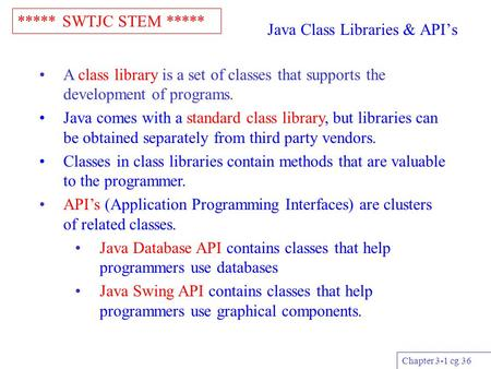 ***** SWTJC STEM ***** Chapter 3-1 cg 36 Java Class Libraries & API's A class library is a set of classes that supports the development of programs. Java.