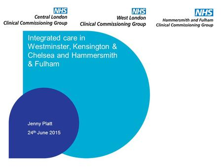 Integrated care in Westminster, Kensington & Chelsea and Hammersmith & Fulham Jenny Platt 24 th June 2015.