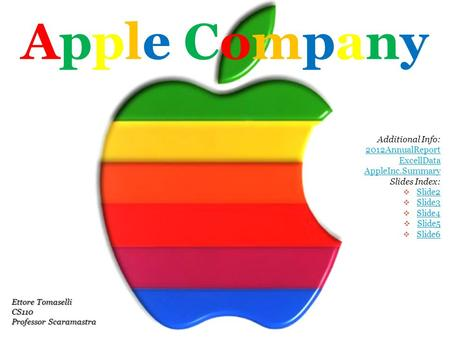Apple CompanyApple Company Additional Info: 2012AnnualReport ExcellData AppleInc.Summary Slides Index:  Slide2 Slide2  Slide3 Slide3  Slide4 Slide4.