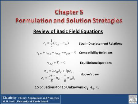 Review of Basic Field Equations Compatibility Relations Strain-Displacement Relations Equilibrium Equations Hooke's Law 15 Equations for 15 Unknowns 
