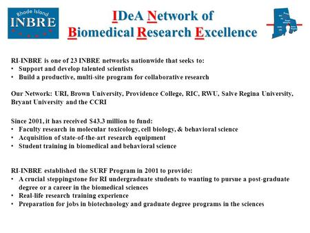 IDeA Network of Biomedical Research Excellence RI-INBRE is one of 23 INBRE networks nationwide that seeks to: Support and develop talented scientists Build.
