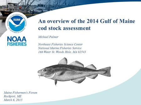 An overview of the 2014 Gulf of Maine cod stock assessment Michael Palmer Northeast Fisheries Science Center National Marine Fisheries Service 166 Water.