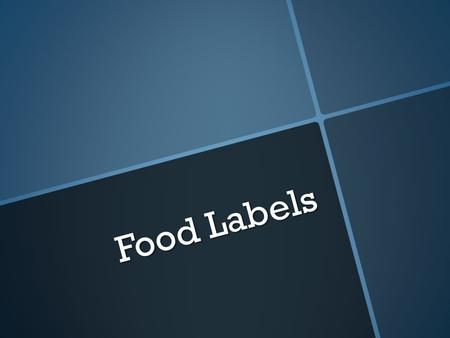Food Labels. Objectives Have students understand how food is labeled.