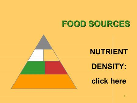 1 FOOD SOURCES NUTRIENT DENSITY: click here 2 There are 28 slides In this program. Click with your mouse, to move on the next slide. Be sure to read.