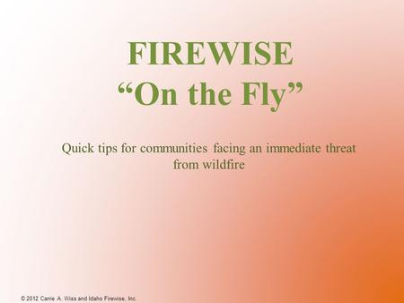 "FIREWISE ""On the Fly"" © 2012 Carrie A. Wiss and Idaho Firewise, Inc. Quick tips for communities facing an immediate threat from wildfire."