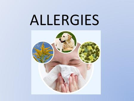 ALLERGIES. What does an allergy mean? An allergy refers to an exaggerated reaction by our immune system in response to bodily contact with certain foreign.