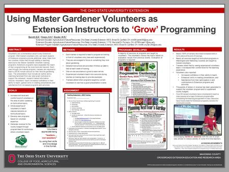 Using Master Gardener Volunteers as Extension Instructors to 'Grow' Programming Barrett, E.E. 1 ; Kneen, H.H. 2 ; Snyder, W.R. 3 1 Extension Educator,