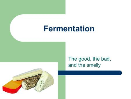 Fermentation The good, the bad, and the smelly. History of Fermentation Age old applications: 1. Wine/ Beer/ Spirits 2. Cheese and Yoghurt Louis Pasteur: