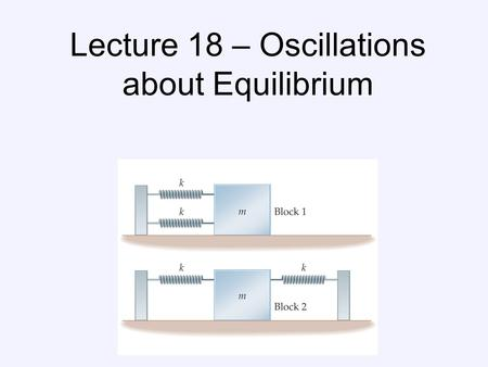 Lecture 18 – Oscillations about Equilibrium. Periodic Motion Period: time required for one cycle of periodic motion Frequency: number of oscillations.