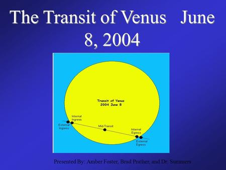 The Transit of Venus June 8, 2004 Presented By: Amber Foster, Brad Prather, and Dr. Summers.