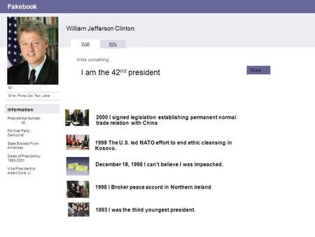 Fakebook William Jefferson Clinton Bill Email, Phone Call, Text, Letter Wall Info Write something… Share Information Presidential Number: 42 Political.