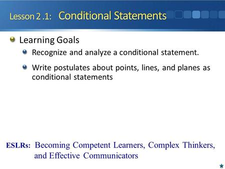 Learning Goals Recognize and analyze a conditional statement. Write postulates about points, lines, and planes as conditional statements ESLRs: Becoming.