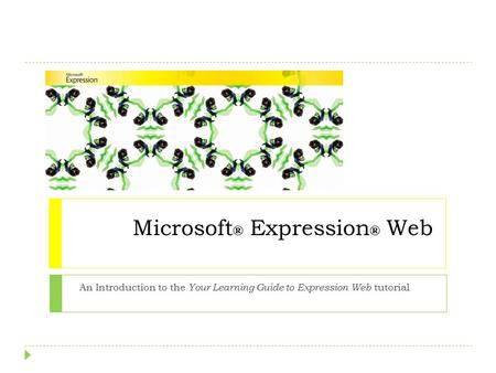 Microsoft ® Expression ® Web An Introduction to the Your Learning Guide to Expression Web tutorial.