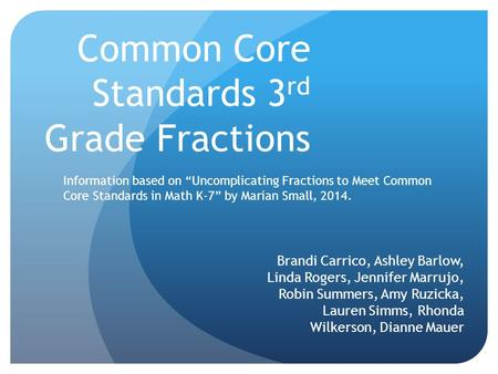 Common Core Standards 3rd Grade Fractions