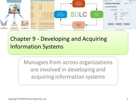 Copyright © 2014 Pearson Education, Inc. 1 Managers from across organizations are involved in developing and acquiring information systems Chapter 9 -