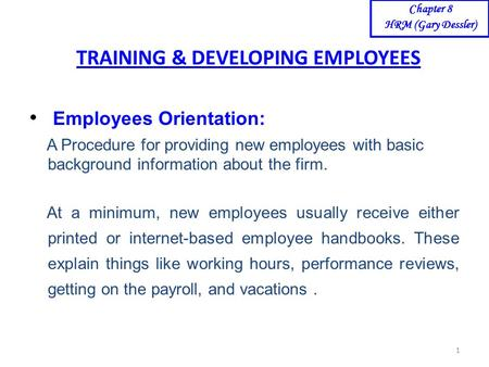 <strong>TRAINING</strong> & <strong>DEVELOPING</strong> EMPLOYEES