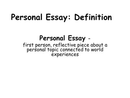 Define reflective essay