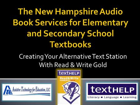 Creating Your Alternative Text Station With Read & Write Gold.