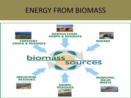 ENERGY FROM BIOMASS. Biomass Biomass energy is energy produced from burning wood or plant residue, or from organic wastes (manure, dung). Algae is most.