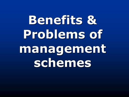 Benefits & Problems of management schemes. BenefitsRiver Basin Management The US Bureau for Reclamation's network of dams and reservoirs has helped to.