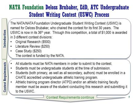 NATA Foundation Deloss Brubaker, EdD, ATC Undergraduate Student Writing Contest (USWC) Process The NATA/NATA Foundation Undergraduate Student Writing Contest.