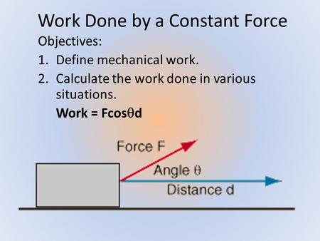 Work Done by a Constant Force Objectives: 1.Define mechanical work. 2.Calculate the work done in various situations. Work = Fcos  d.