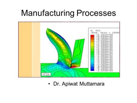 Manufacturing Processes Dr. Apiwat Muttamara. Metal <strong>Cutting</strong> 1.Traditional Machine Turning Milling etc. 2. Non-traditional Machine Laser, EDM etc. Chip.