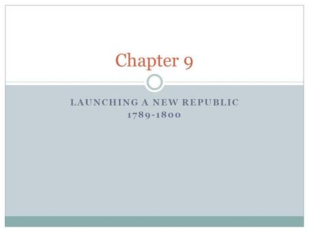 LAUNCHING A NEW REPUBLIC 1789-1800 Chapter 9. Washington's New Government Under the new Constitution, the first presidential election was held in 1789.